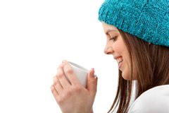 Woman with a hot drink Stock Images