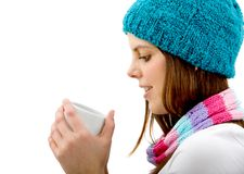 Woman with a hot drink Royalty Free Stock Photo