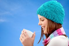 Woman with a hot drink Stock Photo
