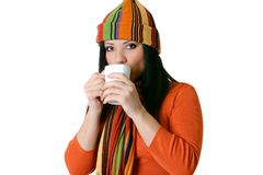 Woman with hot drink Royalty Free Stock Photography