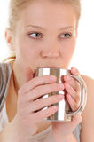 Woman with hot drink Stock Photo