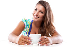 Woman with hot drink Royalty Free Stock Photos