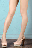 Woman in hot pink  high heels. Closeup of lower half body Royalty Free Stock Photos