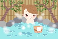 Woman with hot spring Stock Photography