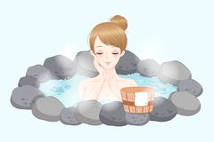 Woman with hot spring Royalty Free Stock Images