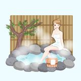 Woman with hot spring Stock Images