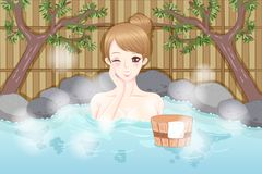 Woman with hot spring Royalty Free Stock Photo