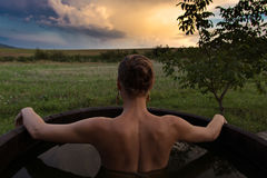 Woman in hot tub Royalty Free Stock Photography