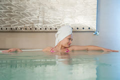 Woman in hot tub Royalty Free Stock Photos