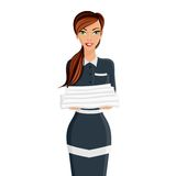 Woman hotel maid portrait. Attractive young girl hotel maid with towels portrait isolated on white background vector illustration Stock Photo