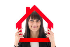 Woman with house Royalty Free Stock Image