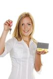 Woman with house and apartment keys Royalty Free Stock Image