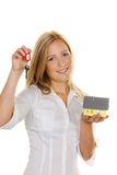 Woman with house and apartment keys Stock Image