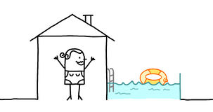 Woman & house with swimming pool Royalty Free Stock Images