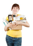 Woman with household appliances Royalty Free Stock Photography