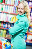 Woman at household chemistry shopping Stock Photos