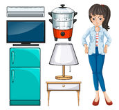 Woman and household equipment Stock Image