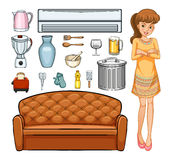 Woman and household equipment Stock Photo