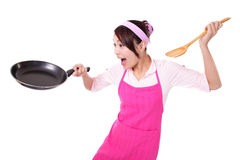 Woman housewife cooking Royalty Free Stock Image
