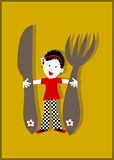 Woman housewife, huge knife and fork. Concept for big appetite, menu, cooking hobby Royalty Free Stock Images