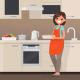 Woman housewife preparing food in the kitchen. Vector illustrati Stock Photos