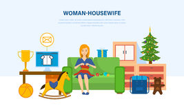 Woman housewife, in quiet environment, knits on the couch. Royalty Free Stock Photography