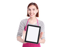 Woman housewife with tablet pc Royalty Free Stock Photo