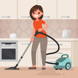 Woman housewife vacuuming the room. Vector illustration in a fla Royalty Free Stock Image