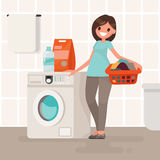 Woman housewife washes clothes in the washing machine. Vector il Royalty Free Stock Photo