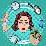 Woman housework sadness. Pop art retro style. International womens day. Wife and housewife Royalty Free Stock Images