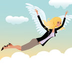 Woman hovers in the skies of happiness. Or office angel Stock Image
