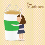 Woman hug a cup of coffee saying I'm the coffee lover Stock Images