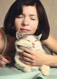 Woman hug siberian cat for relaxation Stock Photos