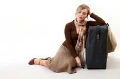 Woman with huge bag. Woman with huge suitcase Stock Images