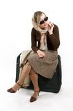 Woman with huge bag. Is waiting for train Stock Images
