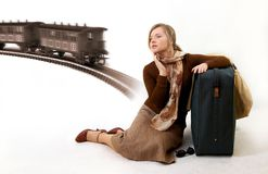 Woman with huge bag. Is waiting for train Stock Photos