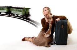 Woman with huge bag Stock Photo