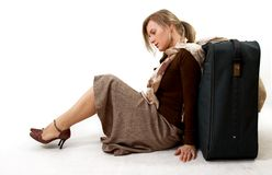 Woman with huge bag Stock Photos