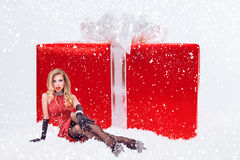 Woman with huge christmas gift box Stock Images