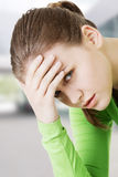 Woman with huge head ache Royalty Free Stock Photos