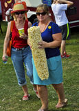 Woman with Huge Popcorn at Festival Stock Photography
