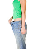 Woman in the huge trousers Stock Image