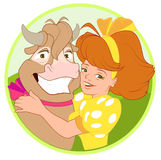Woman hugging cow. Funny cow smiling. Vector cartoon illustration Stock Photography