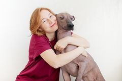 A woman hugging with a dog Stock Images