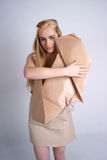 Woman hugging eco dog Royalty Free Stock Photos
