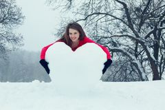 Woman hugging the heart Royalty Free Stock Photos