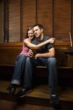 Woman Hugging Her Boyfriend Royalty Free Stock Images