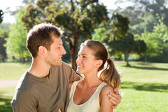 Woman hugging her handsome husband Stock Photo