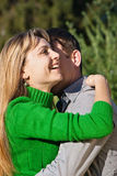 Woman hugging her husband with love Royalty Free Stock Photo