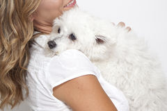 Woman hugging pet dog. Closeup of young woman hugging cute pet dog on shoulder Royalty Free Stock Image